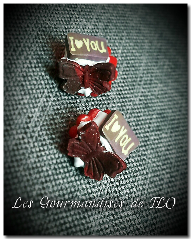 boutons gourmands papillon rouge I love you~3