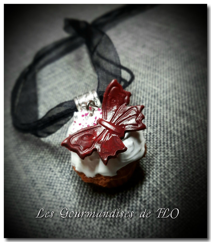 Collier cupcake papillon rouge passion