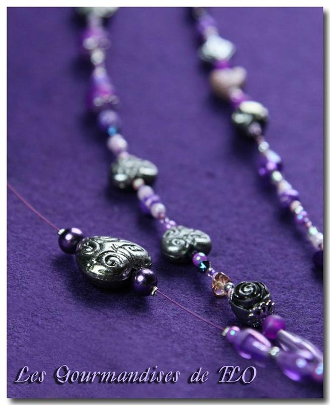 Collier 3 rangs de perles violet