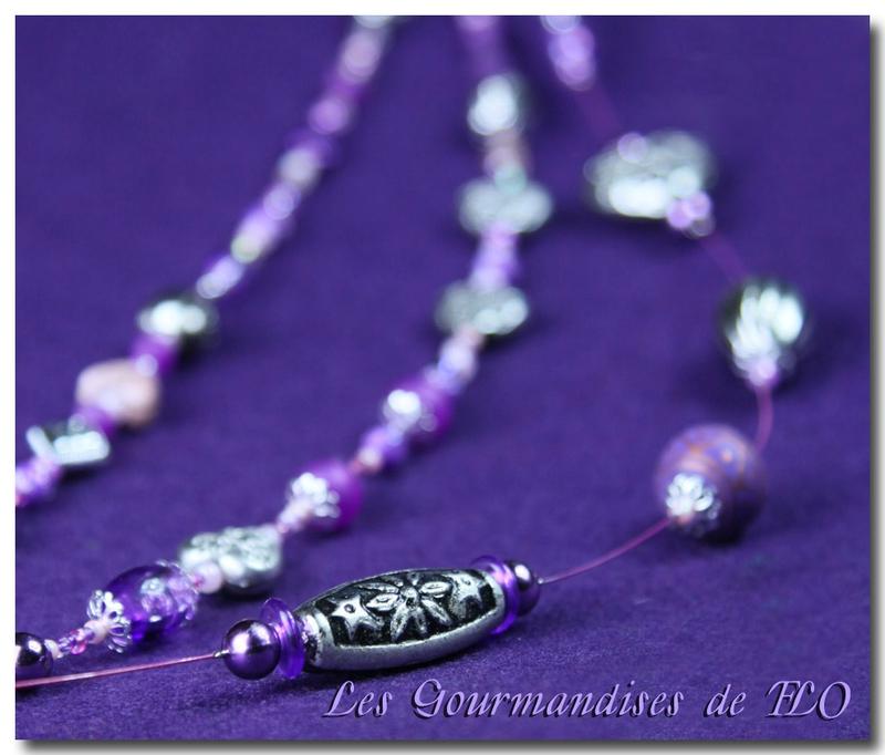 Collier perles violet